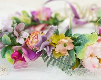 Tropical halo, bridal wreath, bridal hair, bridal headband, rose headband, colourful crown, tropical crown, destination wedding, flower halo