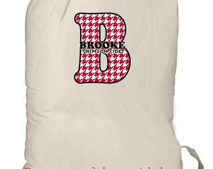Graduation Gift, Alabama Crimson Tide, Laundry Bag, Personalized Laundry Tote, Beach Bag, Dorm Bag, Dorm Decor, Graduation Gift, Monogrammed