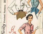 50s Blouse Pattern Simplicity 2195 Bust 34 Classic Shirtwaist Blouse with Monogram Button Front Short Sleeves Vintage 1957 Sewing Pattern