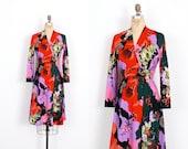Vintage 1970s Dress / 70s Don Louis De Espana Floral Print Dress / Wrap Dress ( medium M )