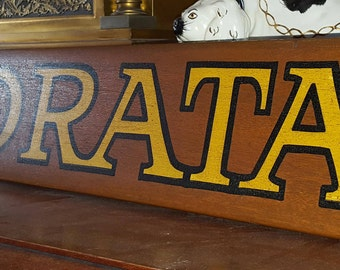 Vintage Maritime Ship Boat Name Wood Sign INAMORATA Italian Loved Woman / Lover