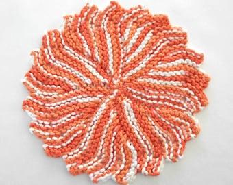 Round Dishcloth, Cotton Dishcloth, Orange Kitchen Washcloth, Hand Knit Dishcloth