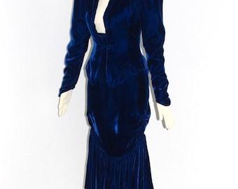 Vintage NORMA KAMALI Suit Blue Velvet Jacket Skirt Edwardian - DEADSTOCK -
