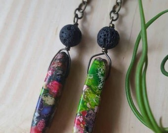 HANDMADE// Multicolored Dyed Agate Stone and Lava Rock Black Bead Earrings- Brass Chain and Findings