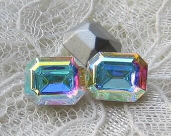 10x8 Swarovski Crystal AB Octagon Rhinestones