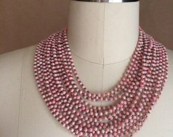 CYBER SALE / vintage 1960's plastic beaded necklace / choker / costume jewelry / pale pink beads / retro mod jewelry