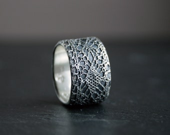 Lacey no 34 - sterling silver lace ring -  made to order in your size