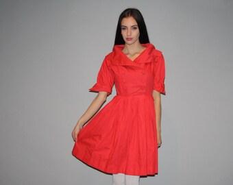 Vintage 1950s Coral Red Cotton Party Dress  - Vintage 50s Cotton  Dress - VTG 50s Dress - W00256