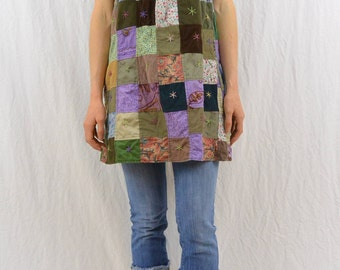 Vintage Patchwork Mini Dress, Tunic Top, Size XS-Small, Hippie, Festival Clothing, Boho, 90's Grunge, Tube Top, Strapless Dress, Earthy