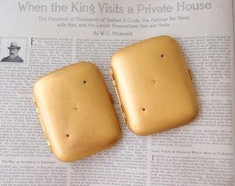 antique Calling Card cigarette case Gypsy Star set Diamonds Victorian Edwardian Roman Gold gilt brass