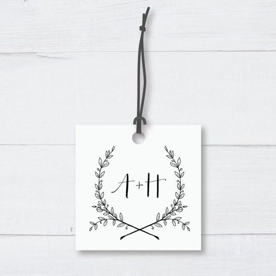 LAUREL WEDDING TAGS | Square, Custom Design, Emblem, Rustic, Wreath, Berries, Wedding, Engagement, Minimalist, Monochrome