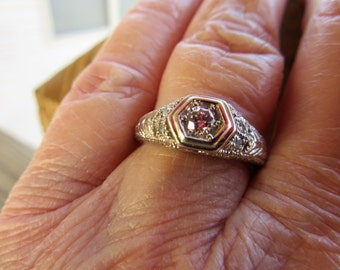 Diamond Engagement Ring - 14k White Gold Round Cut .25ctw Unique Engagement Ring