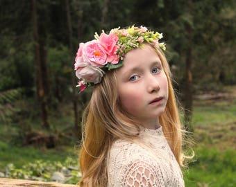 pink rose headband, Ready to ship, pink  tieback,halo headband,flower girl headband,bridal headband,flower crown