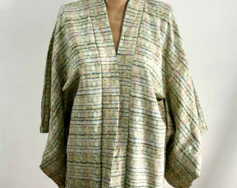 Japanese Green Patterned Kimono Blouse