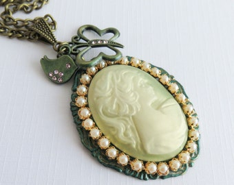Green cameo necklaces, victorian style jewelry, large pendant necklaces, gift for her, vintage inspired necklace