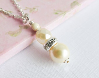 Ivory necklace, pearl pendant necklaces, pearl and crystal jewelry, romantic jewelry, gift for her, ivory wedding jewelry