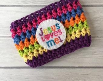 Rainbow cup cozy, coffee dozy, cup sleeve, cup cozy, rainbow, crochet cup cozy, rainbow coffee cozy crochet cozy, jesus loves me cozy