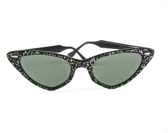 """Ray-Ban cat eye sunglasses """"Starlight"""" sparkly black frames. 1950s atomic confetti. Non-prescription lenses."""