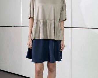 Beige summer top, bottom frill blouse, elegant shirt, short sleeves, loose fit, party top, scoop neck, gold t shirt, drop shoulder shirt