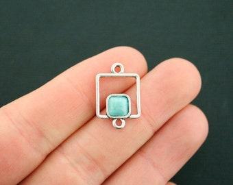 4 Turquoise Square Connector Charms Antique Silver Tone with Faux Turquoise Stone - SC6411