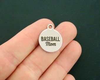 Baseball Mom Stainless Steel Charms - Exclusive Line - Quantity Options - BFS1862