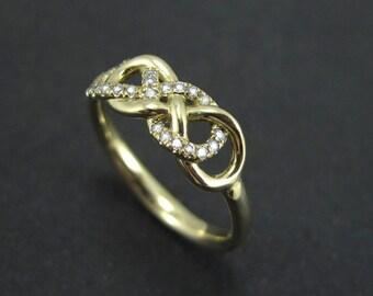 Double Infinity Knot Diamond Ring, Infinity Love Knot, Celtic Infinity Knot, Double Knot Ring, Double Knot Love Ring, Diamond Knot Ring