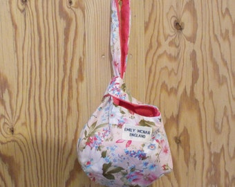 Pink and Cream Floral Reversible Japanese Knot Bag Purse Clutch Wristlet Ready to Ship