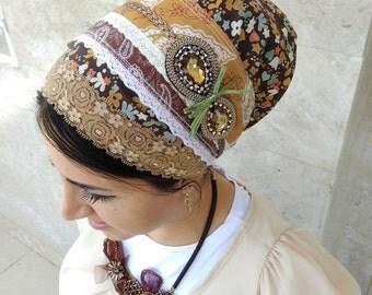 NEW spring  jewish head wrap, lace cover, jewish headcovering, Tichel, head bandana, hair wraps, kopfbedeckung, by oshratdesignz