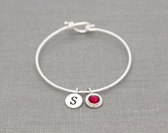 Personalized Mothers Bracelet with Initials, Mothers Day Gift for Grandma, Grandmother Birthstone Bracelet, July Birthstone Ruby Jewelry