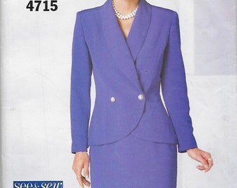 Butterick 4715 See & Sew Misses' 90s Jacket and Skirt Suit Sewing Pattern Size 12 to 16 Bust 34 to 38