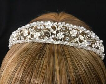 Vintage Headband Tiara With Twisted  Metal Rhistones, Florettes and Pearls