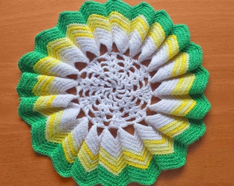 White, Yellow, and Green Crochet Doily, 7 inch Vintage Doily, Beautiful Doily with a Ruffled Border
