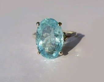 Bright Blue Natural Aquamarine In Sterling Silver Ring, 6.50ct. Size 7.75
