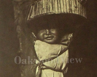 Apache Babe by Edward Curtis, Vintage Large 14x17 Sepia Book Art Print, Native American Indian Baby, FREE SHIPPING