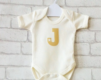 CUSTOM initial organic cotton baby vest, handprinted, metallic gold, star, letter personalisation, organic cotton baby bodysuit