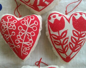 Floral Heart, Tulip, Valentine, Red Hearts, Valentines Day, Wedding favor, Lavender Sachet