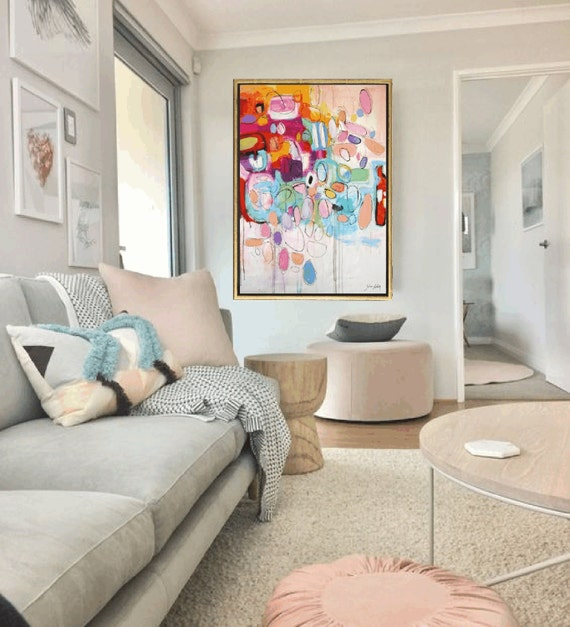 multicolor Painting  pink,creme  abstract Painting nice  wall art  large abstract painting  jolina Anthony