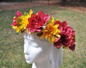 Red and Yellow Flower Crown. Rose Flower Garland. Rose Crown. Large Flower Crown. Dark Red Flower Crown. Rose Flower Circlet.