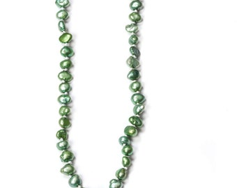 Seafoam Green Pearl Necklace Freshwater Pearls Handmade Knotted 364 16H