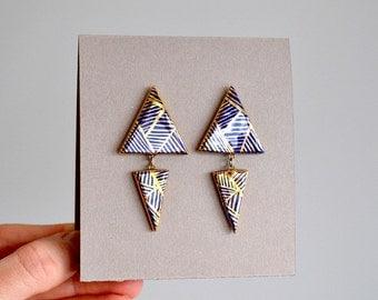 Sacred geometry - Night blue - long stud post earrings - porcelain and gold jewelry - geometric porcelain long bar earrings