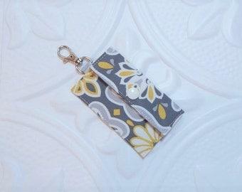 Chapstick Holder - Lip Balm Holder - Chapstick Cozy - Lip Balm Cozy - Chapstick Keychain Holder - USB Holder - Gray Gold And White