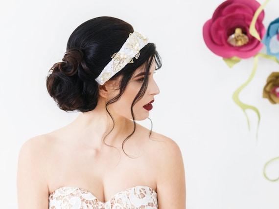 Leaf and Pearl Headband, Pearl Headband, Gold Leaf Headband, Freshwater Pearls, Lace Headband, White, Ivory, Bride, Gold Headband LAUREL
