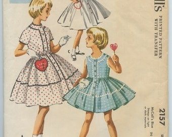 1950's McCall's 2157 Girl's Button Front Dress with Full Skirt and Patch Heart Shaped Embroidered Pocket Vintage Sewing Pattern Breast 30
