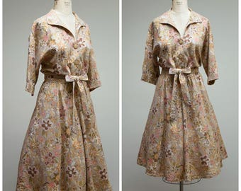 Vintage 1960s Dress • Sonoma County • Beige and Pink Floral 60s Day Dress Plus Size