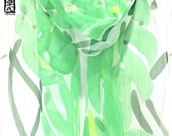 Silk Summer Scarf, Women Spring Scarf, Green tropical leaf prints Scarf, chiffon scarf, Silk Scarf, Handpainted Scarf, Takuyo, 11x60 inches