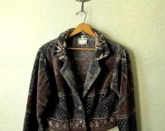 Boho Jacket fleece bolero lightweight cropped jacket rustic cabin print brown deer vintage 80s 90s women medium Simply Irresistible