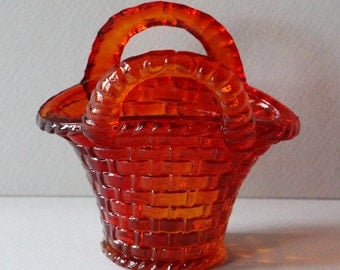 Vintage Red/Yellow Glass Mini-basket