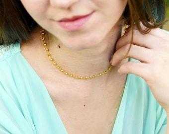Gold Stone Choker Necklace, Gold Chain Choker, Rondelle Choker Necklace, Pyrite Necklace