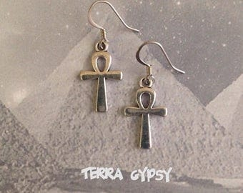 FREE SHIPPING! Ankh earrings, pagan earrings, Egyptian earrings, ankh symbol earrings