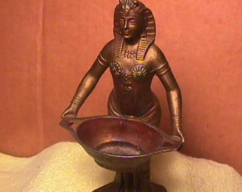 Antique Art Deco - Egyptian Bronze Incense Burner - Cleopatra Woman - Vantine's No. 1272 - France 1920s
